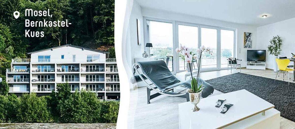 Ferienwohnung mit großer Fensterfront und direktem Blick auf die Mosel
