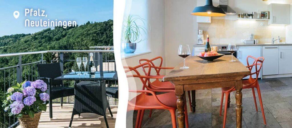 Ferienwohnung mit Balkon und Ausblick auf das Rheintal