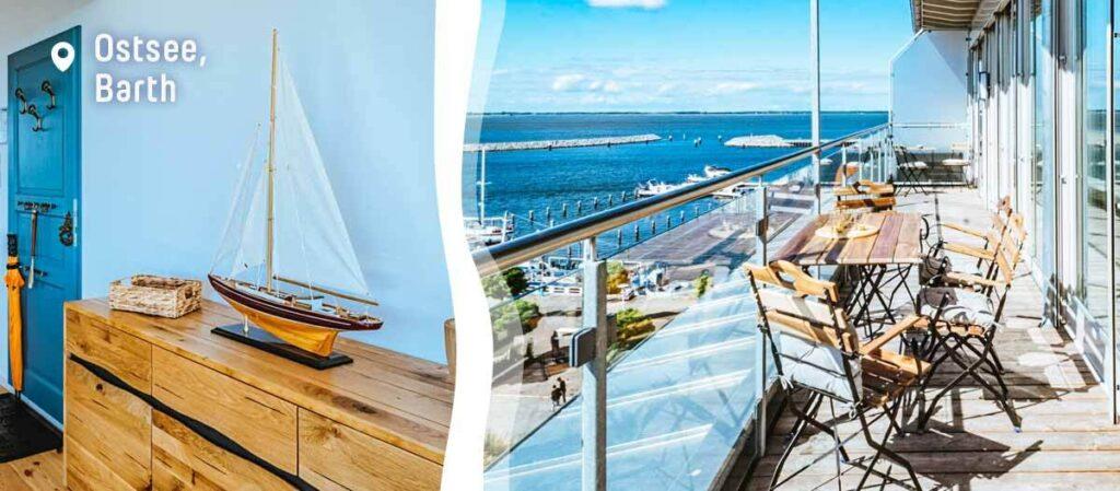 Balkon einer Ferienwohnung mit Aiussicht auf das Meer